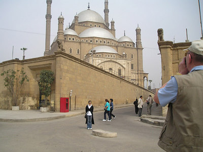 Viola in the middle of the road, brave girl!  Mohammed Ali mosque in the background.