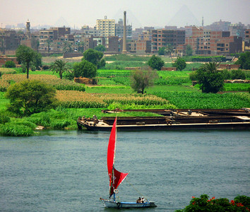 Egyptian life has always evolved around the two sides of their great river Nile .... on the horizon and through the smog you can just trace the outline of the pyramids.