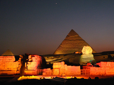 The 'Sound & Light' show at the pyramids incorporates a stunning multi media display in which the history of the pyramids is described ... all narrated by ... the sphynx!