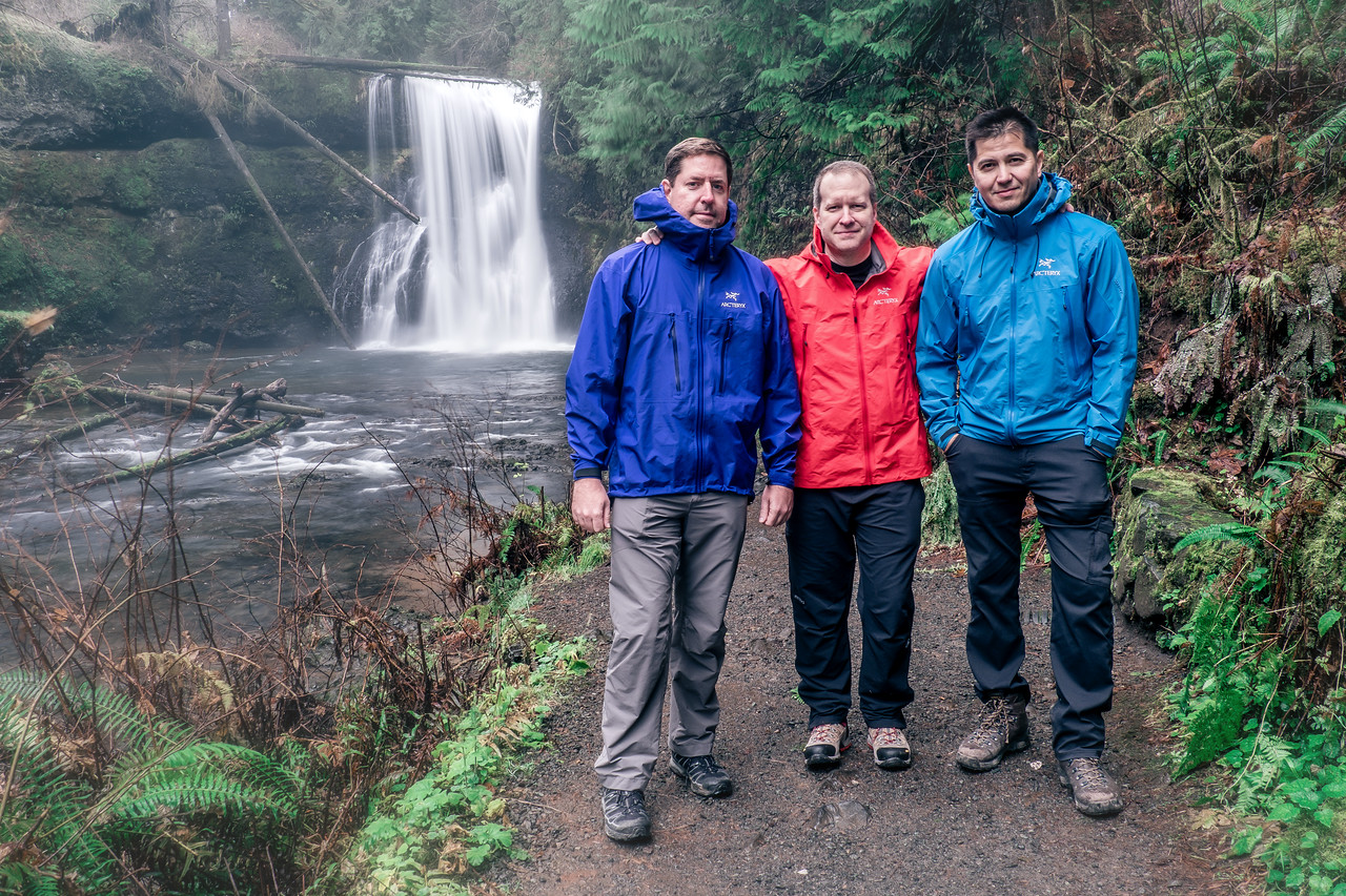 Arc'teryx boys at Upper North Falls - Day 1 of Nestor's Asolo boots and blister