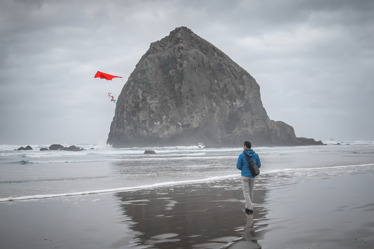 Chris Flying a Kite at Cannon Beach.  Or is he?
