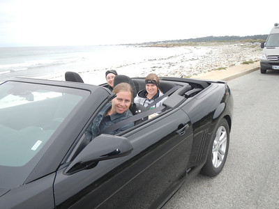 Kjirsten chauffeuring us in a convertible on 17 mile drive south of Monterey Bay.