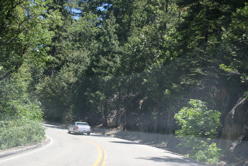 Driving into Yosemite National Park.