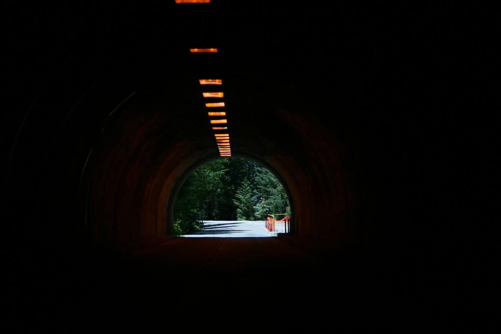 Going thru the tunnel to Bridalveil Fall.