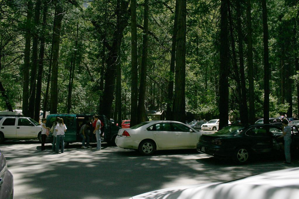 The parking lot at Bridalveil Fall, Yosemite National Park