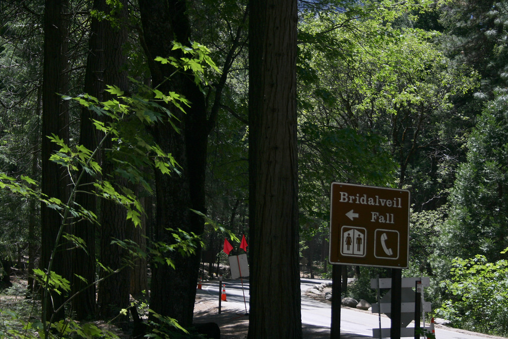 The sign for Bridalveil Fall.