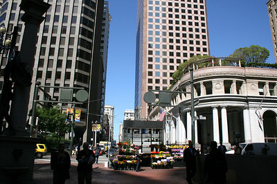 My first view of San Francisco after coming up out of the underground Bart station.