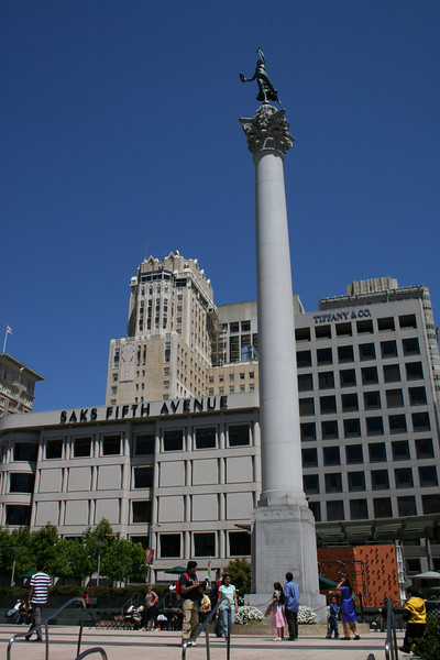 The Dewey Monument in Union Square, which commemorates Admiral Dewey's victory at Manilla during the Spanish-American war of 1898.