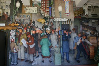 One of many fabulous murals inside Coit Tower.  The Coit Tower murals were carried out under the auspices of the Public Works of Art Project, the first of the New Deal federal employment programs for artists.