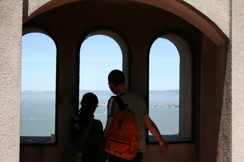 Inside Coit Tower, you can pay to take an elevator up to the observation deck.