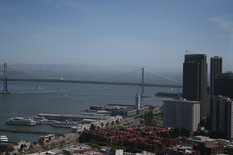 The bay bridge from observation deck of Coit Tower. The observation deck has a 360 degree view of San Francisco.