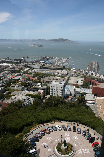 Looking down from the observation deck of Coit Tower.
