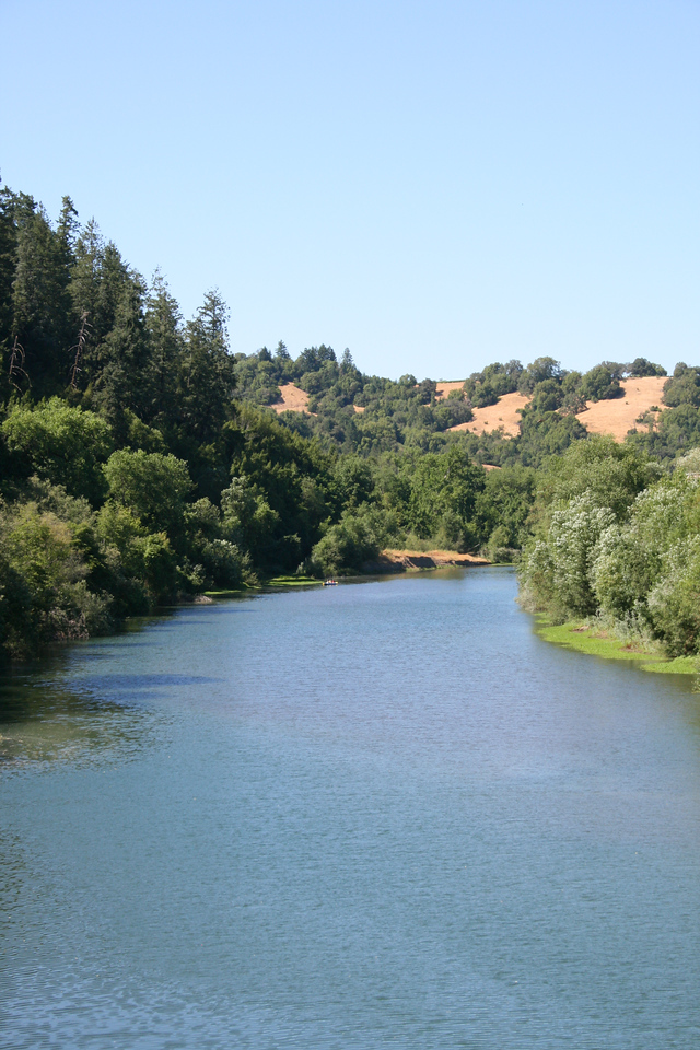 The Russian River where we would finally turn north again and start heading back to Healdsburg.