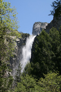 "Bridalveil Fall - (620 ft.) called ""Pohono"" or ""spirit of the puffing wind"" by the Ahwahneechee Indians. The wind often blows the falls sideways giving it the appearance of a ""bride's veil""."