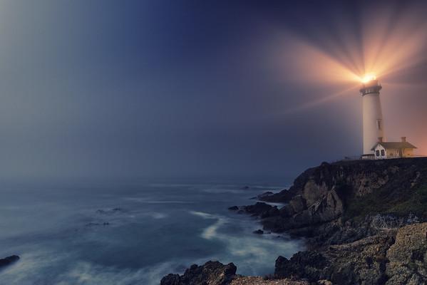 Foggy Pigeon Point Lighthouse