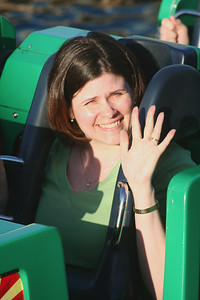 Darcie waiting to get launched on one of our favorite rides - California Screamin.