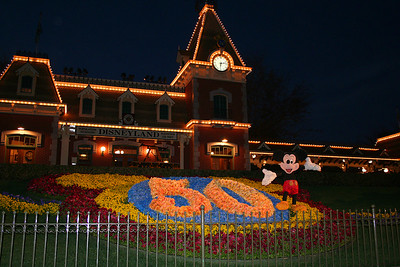 Entrance to Disneyland - the parks were celebrating the 50th anniversary of Disneyland