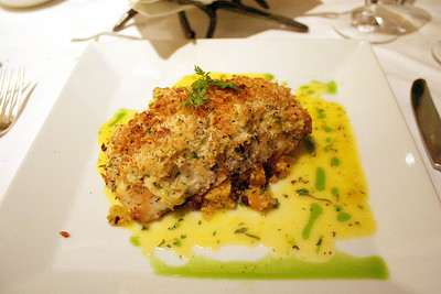 Cly had the snapper encrusted with dungeness crab
