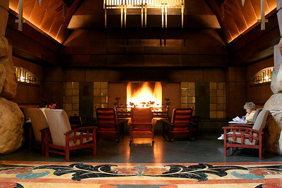 Big fireplace in the lobby