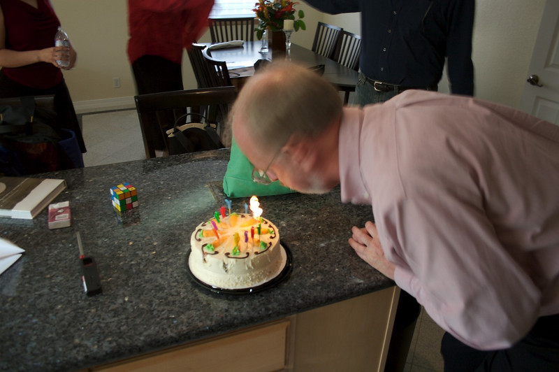 "Fortunately they did not put ALL of the candles on the cake. That would have required a fire permit, and a lot more ""puff"" from me."