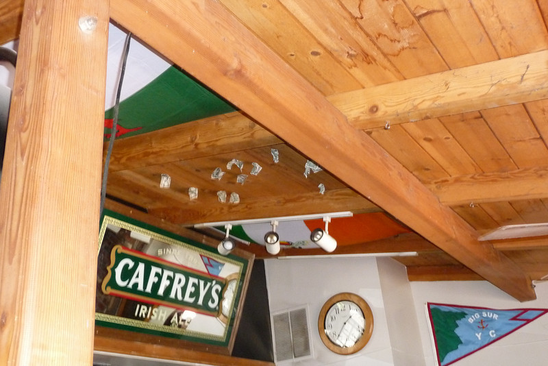 """Carolyn asked our waiter what was up with the money on the ceiling. He said, """"Dunno. We must have been really drunk that night."""""""