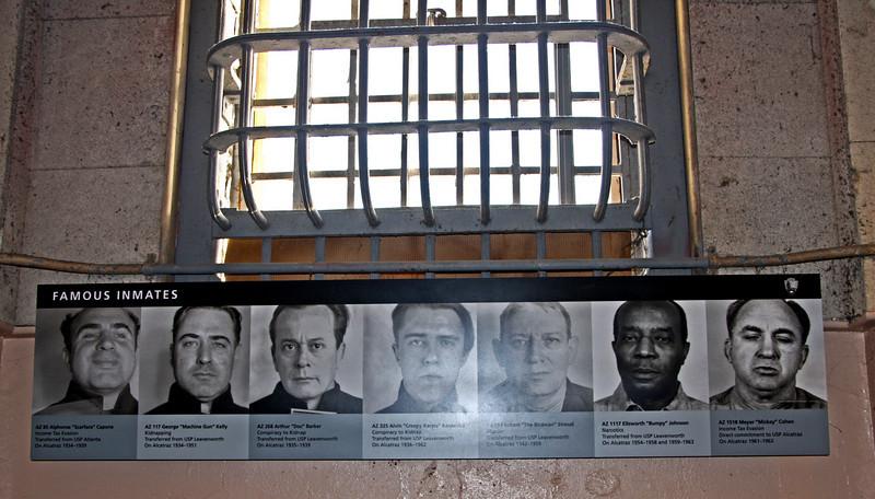 "<b>Famous Inmates</b><br> <br> AZ 85 --> <b>Alphonse ""Scarface"" Capone</b>: Income Tax Evasion; Transferred from USP Atlanta; On Alcatraz1934-1939<br> <br> AZ 117 --> <b>George ""Machine Gun Kelly</b>: Kidnapping; Transferred from USP Leavenworth; On Alcatraz1934-1951<br> <br> AZ 268 --> <b>Arthur ""Doc"" Barker</b>: Conspiracy to Kidnap; Transferred from USP Leavenworth; On Alcatraz1935-1939<br> <br> AZ 325 --> <b>Alvin ""Creepy Karpis"" Karpavicz</b>: Conspiracy to Kidnap; Transferred from USP Leavenworth; On Alcatraz1936-1962<br> <br> AZ 594 --> <b>Robert ""The Birdman"" Stroud</b>: Murder; Transferred from USP Leavenworth; On Alcatraz1942-1959<br> <br> AZ 1117 --> <b>Ellsworth ""Bumpy"" Johnson</b>: Narcotics; Transferred from USP Leavenworth; On Alcatraz1954-1958 and 1959-1963<br> <br> AZ 1518 --> <b>Myer ""Mickey"" Cohen</b>: Income Tax Evasion; Direct Commitment to USP Alcatraz; On Alcatraz1961-1963"