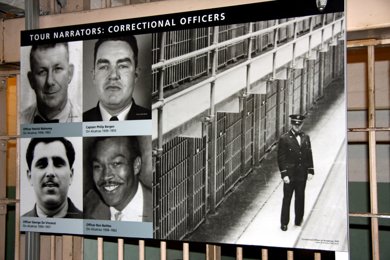 <b>Tour Narrators - Correctional Officers</b><br> <br> Once inside the Cellhouse, for those who want it, one is given a headset attached to a small box. You are on your own to listen and follow as much or as little of the tour as you want.  <br> <br> Top left --> Officer Patrick Mahoney<br> On Alcatraz 1956-1963<br> <br> Top right --> Captain Philip Bergen<br> On Alcatraz 1939-1955<br> <br> Bottom left --> Officer George de Vincenzi<br> On Alcatraz 1950-1957<br> <br> Bottom right --> Officer Ron Battles<br> On Alcatraz 1958-1962