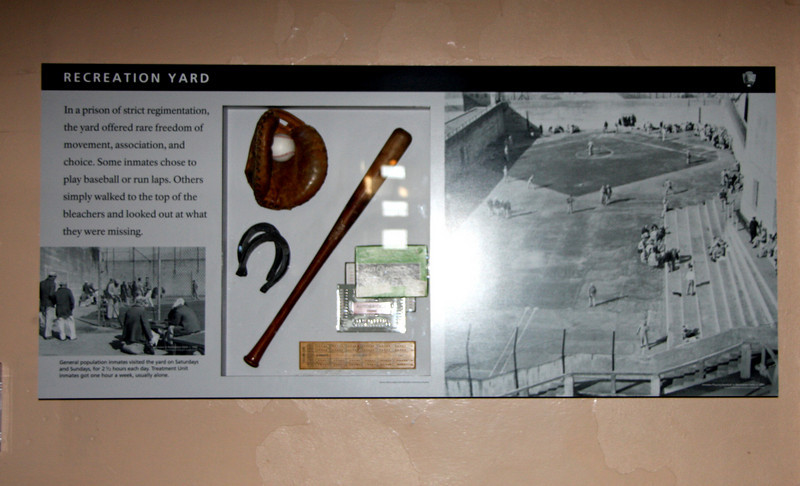 <b>Recreation Yard</b><br> <br> General population inmates visited the yard on Saturdays and Sundays for 2 1/2 hours each day.  Treatment Unit inmates got one hour per week, usually alone.<br> <br> The ability to go out to the yard was considered a privilege that had to be earned. <br> <br> According to the Regulations, DISCIPLINARY ACTION may result in loss of some or all of your privileges and/or confinement in the Treatment Unit.<br> <br> The TREATMENT UNIT is the segregation section of the Institution where privileges may be restricted to a minimum.