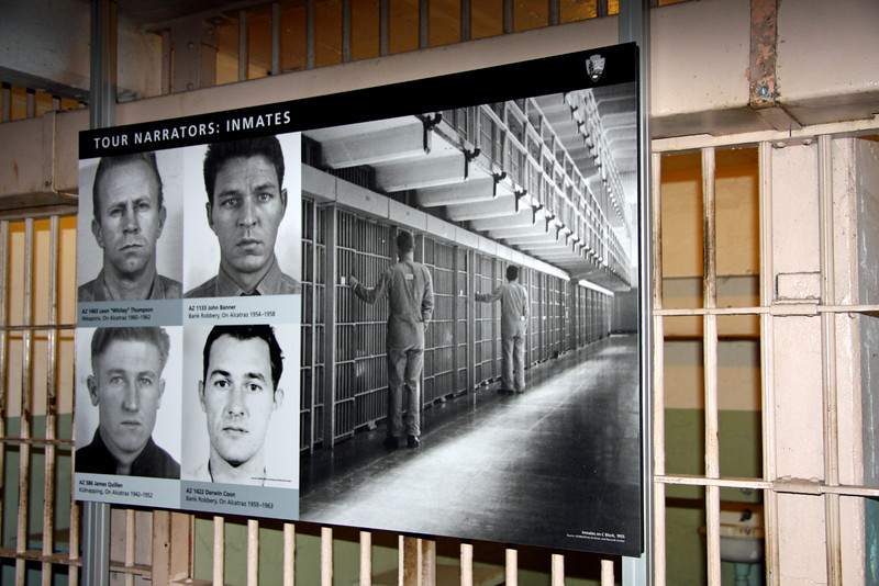 "<b>Tour Narrators - Inmates</b><br> <br> Top left --> AZ 1465 - Leon ""Whitey Thompson""<br> Weapons, On Alcatraz 1960-1962<br> <br> Top right --> AZ 1133 - John Banner<br> Bank Robbery, On Alcatraz1954-1958<br> <br> Bottom left --> AZ 586 - James Quillen<br> Kidnapping, On Alcatraz 1942-1952<br> <br> Bottom right --> AZ 1422 - Darwin Coon<br> Bank Robbery, On Alcatraz 1959-1963"