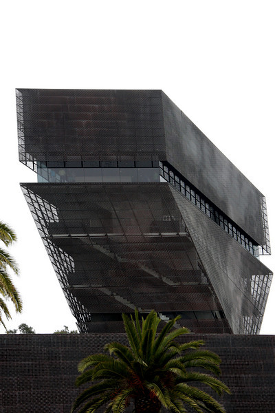 """<b>Inverted Pyramid of the de Young Museum's Hamon Tower</b><br> <br> de Young Art Museum in Golden Gate Park was founded in 1895 in San Francisco's Golden Gate Park.  The de Young Museum has been an integral part of the cultural fabric of the city and a cherished destination for millions of residents and visitors to the region for over 100 years.<br> <br> On October 15, 2005, the de Young Museum re-opened in a state-of-the-art new facility that integrates art, architecture and the natural landscape in one multi-faceted destination that will inspire audiences from around the world. Designed by the renowned Swiss architecture firm Herzog & de Meuron and Fong & Chan Architects in San Francisco, the new de Young provided San Francisco with a landmark art museum to showcase the museum's priceless collections of American art from the 17th through the 20th centuries, and art of the native Americas, Africa, and the Pacific.<br> <br> For a more in-depth history, visit the <a href=""""http://deyoung.famsf.org/"""" target=""""_blank""""> <b>de Young Art Musuem</a></b> website."""