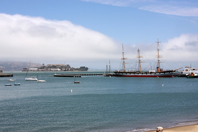 View from Pier 39 - Alcatraz [left], Balclutha [right]