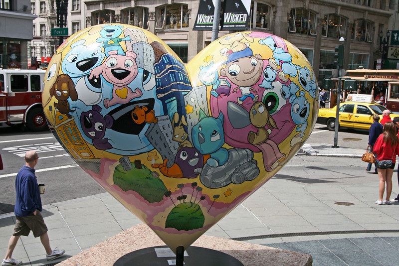 """<b>Union Square</b> - Hearts in San Francisco was a Bay Area-wide """"heart installation"""" that debuted in the spring of 2004. While similar to Chicago's """"Cows on Parade,"""" the San Francisco version used a heart icon, appropriate for a city that is recognized for its acceptance and tolerance, as well as being perennially open-hearted.<br> <br> Over 130 recognized and emerging artists transformed heart sculptures into unique works of art. These hearts were installed on sidewalks, plazas, parks, and street corners throughout the San Francisco Bay Area. On February 14, 2004, the first two Hearts were unveiled in a kick-off event in Union Square."""