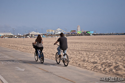 Riding along the Santa Monica beachfront with the Pier in the background