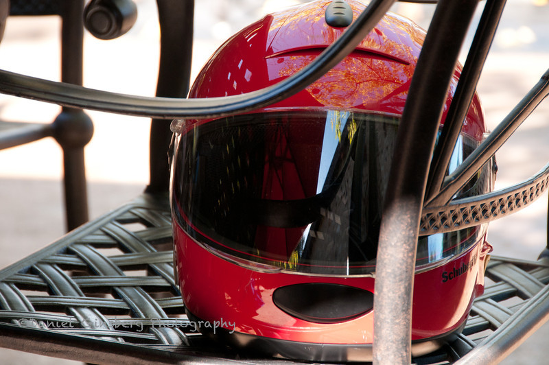 A motorcycle helmet on a metal chair at the Culinary Institute of America (CIA) at Greystone in St. Helena in Napa Valley.