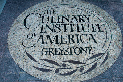 Sign in step at entrance to the Culinary Institute of America (CIA) at Greystone in St. Helena in Napa Valley.