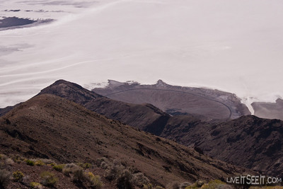 Death Valley National Park - Badwater from Dante's View. That little black line is the road.