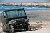 Jeep on the beach at Vandenberg Air Force Base.