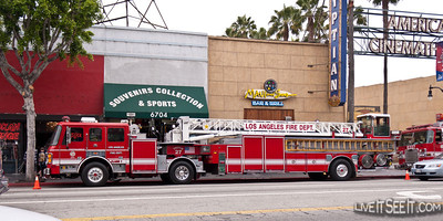 LAFD Tower Ladder on Hollywood Bvd