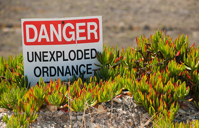 Danger Unexploded Ordnance sign at Vandenberg Air Force Base.