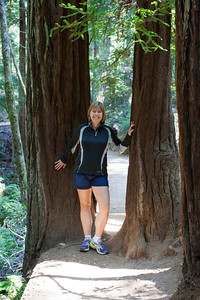 Laura stops for a pose on our hike through Muir Woods.