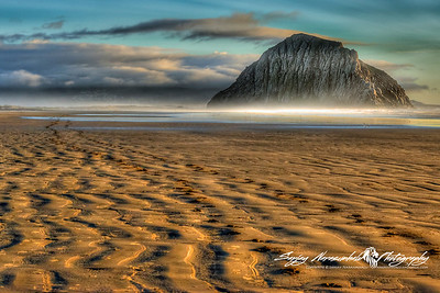 Sun is Coming Down & the Tide is Going Out on Morro Rock, Morro Bay, California December 30, 2009