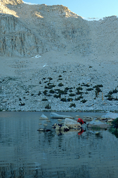 Donna collecting water in early morning, Sierra-Nevada's - July 1989
