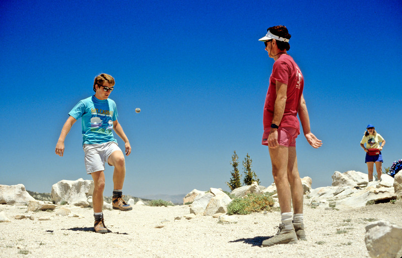 Mateo McCarthy and Eric Dahlke engaging in hacky-sack, Sierra-Nevada's - July 1989