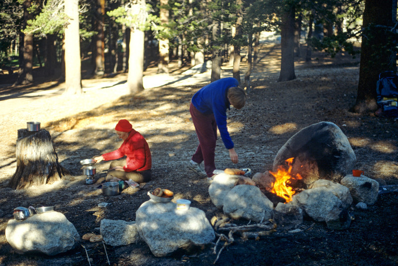 Donna and Mateo preparing dinner, Sierra-Nevada's - July 1989