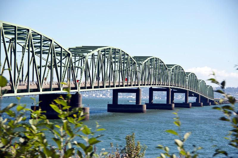 Astoria-Megler Bridge over Columbia River, Oregon.  Longest of its kind in North Americ