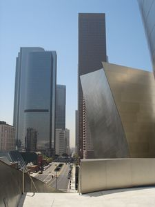 The Walt Disney Concert Hall looming large over downtown