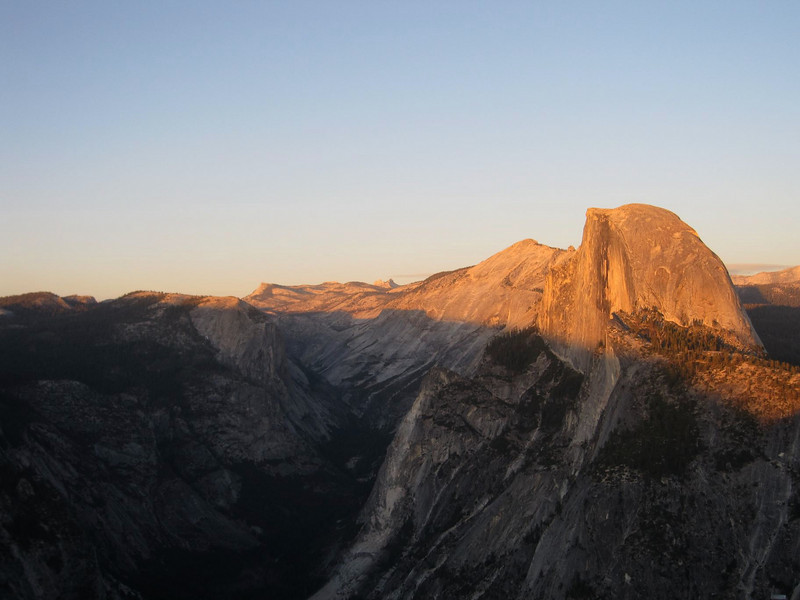 This is a time lapse of a sunset in Yosemite National Park, looking at Half-Dome