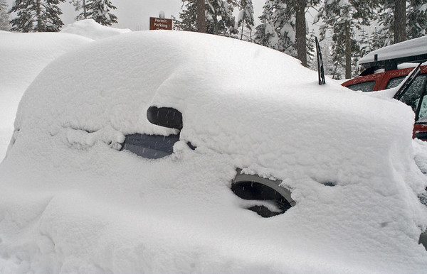 How much did it really snow in the past two days? Enough to burry a car!