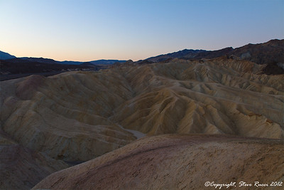 Looking over the Zabriske badlands before sunrise, Death Valley National Park - California.