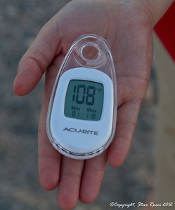 """Just for fun I wanted to see what the temperature was at sunset (approximately 7:30pm), while we were at the """"Devil's Golf Course"""" in Death Valley.  Luckily it had cooled down to 108."""